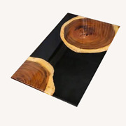 Natural Black Wooden Epoxy Dining Table Custom Living Home Decors Made To Order