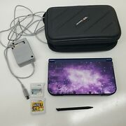 Nintendo 3ds Xl Galaxy Ed. W/ Games Super Mario 2 Mario Kart Charger And Case G