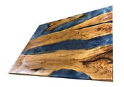 Live Walnut Wood Blue Epoxy Resin River Dining Restaurant Decors Made To Order