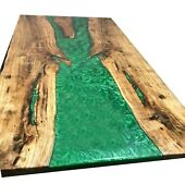 Green Epoxy Wooden Resin Dining Epoxy Poplar Wood Live Edge Decor Made To Order