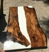 White Epoxy Table, Resin, River Table, Epoxy Dining Table Walnut Table Decors