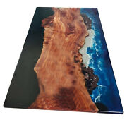 Waterfall Epoxy Resin Table Deep Sea Blue Live Edge Home Deco Made To Order