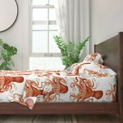 Nautical Marine Sea Beach Octopus 100 Cotton Sateen Sheet Set By Roostery