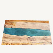 Epoxy Walnut Wooden Sofa Center Din Table Deep Sea River Decorates Made To Order