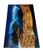 Unique Ocean Deep Sea Waterfall Epoxy Dining Table Top Resin Liquid Glass Decors