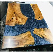 Solid Epoxy Wooden Resin Center Dining Table Natural Hallway Deco Made To Order