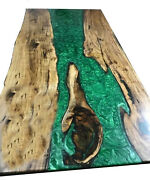 Green Epoxy Wooden Center Dining/coffee Table Top Resin River Deco Made To Order