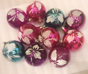 10 Vintage Russian Glass Ussr Christmas Xmas Tree Ornaments Decorations Sphere