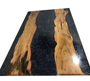 Black Epoxy Wooden Dining Center Side Natural Wood Living Deco Made To Order