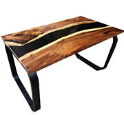 Solid Wood Dining Table Black Epoxy Resin River Dining Table Decor Made To Order
