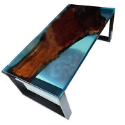 Blue Transparent Epoxy Clear River Walnut Epoxy River Edge Decors Made To Order