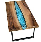 Transparent Epoxy Dining Sofa Center Table Walnut Table Top Deco Made To Order