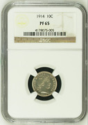 1914 Ngc Pr65 Mintage 425 - Lowest Proof 1859 To Date 10c ██ 1 Key Barber Dime