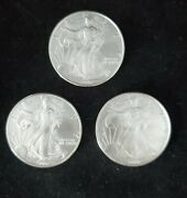 2006-3 Count 1 Oz .999 Silver- American Silver Eagle From Tube. Bu In 4mm Bag.