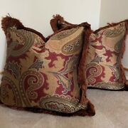 Pair Of Marge Carson Throw Pillow Covers 24 Square In Stark Fabric Silk Paisley