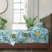 Chinoiserie Asian Blue Pastel Blue 100 Cotton Sateen Sheet Set By Roostery