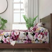 Purple Floral Flowers Illustration 100 Cotton Sateen Sheet Set By Roostery