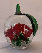 Vtg Art Glass Apple Paperweight Figurine - Cased Flowers Bubbles - Gibson 1989