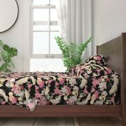 Japanese Garden With Cranes Floral 100 Cotton Sateen Sheet Set By Roostery