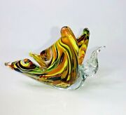 Vintage Murano Style Art Glass Italy Butterfly Figure Swirle Multicolor Figurine