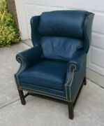 Hancock And Moore Blue Leather Wing Back Arm Chair