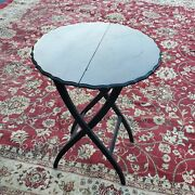 Antique Mahoganysmall Round Folding Butlers Stand Table Server Buffet Handmade