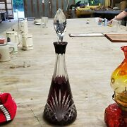 Vintage Art Deco Ruby Red Cut To Clear Bohemian Glass Wine Decanter Deer
