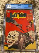 Batman 52 Cgc 3.5 Ow- Wh Pages Iconic Joker In The Joker-mobile Classic Cover