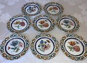 Mottahedeh The Merian Service Hand Painted 8 5/8 Salad Dessert Plates 8