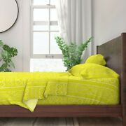 African Mudcloth Chartreuse Afrocentric 100 Cotton Sateen Sheet Set By Roostery