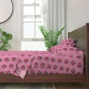 Boston Terrier Dog Cupcake Cake Pink 100 Cotton Sateen Sheet Set By Roostery