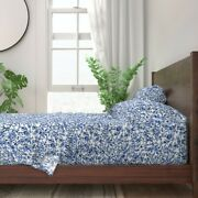 Indigo Floral Blue Cottage Chic Flower 100 Cotton Sateen Sheet Set By Roostery