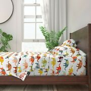 Colorful Elephant Illustrated Animal 100 Cotton Sateen Sheet Set By Roostery