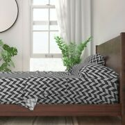 Zig Zag Checkered Stylish Modern 100 Cotton Sateen Sheet Set By Roostery
