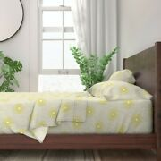 Yellow Star Bursts Mid Century Modern 100 Cotton Sateen Sheet Set By Roostery