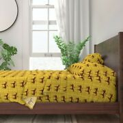 Yellow Red Equestrian Horse Plaid Hound 100 Cotton Sateen Sheet Set By Roostery