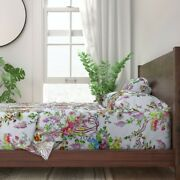 Rococo Floral Peacock Georgian 100 Cotton Sateen Sheet Set By Roostery