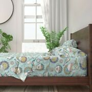 Teacups Watercolor Vintage Tea Bird 100 Cotton Sateen Sheet Set By Roostery