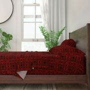 Deep Red Crimson Cranberry Cherry Ikat 100 Cotton Sateen Sheet Set By Roostery