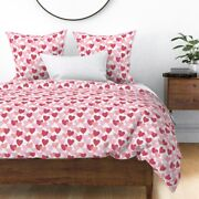 Red And Pink Hearts Valentine' Day Valentines Sateen Duvet Cover By Roostery