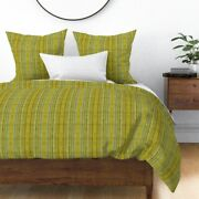 Chartreuse Moire Peacock Blue Teal Stripes Sateen Duvet Cover By Roostery
