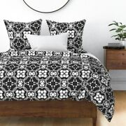 Spanish Tiles Black White Tile And Floral Sateen Duvet Cover By Roostery