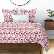 Hearts Pink And Red Love Valentines Painted Day Sateen Duvet Cover By Roostery