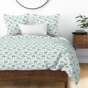 Mint Dinosaurs Dino Dinosaur Geometric Sateen Duvet Cover By Roostery