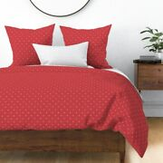 Modern Holiday Scadinavian Polka Dots X Red Sateen Duvet Cover By Roostery