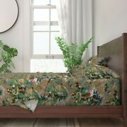 Chinoiserie Olive Asian Toile Palace 100 Cotton Sateen Sheet Set By Roostery