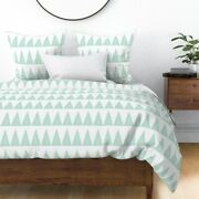 Forest Pine Tree Baby Blue Pastel Mint Triangle Sateen Duvet Cover By Roostery