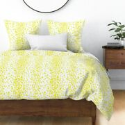 Chartreuse Dots Yellow Spots Animal Paint Sateen Duvet Cover By Roostery