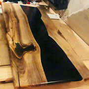 Black Epoxy Walnut Wooden Dining Sofa Center Top Table Edge Decor Made To Order