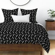 Black And White Dino T Rex Jurassic Park Trex Sateen Duvet Cover By Roostery